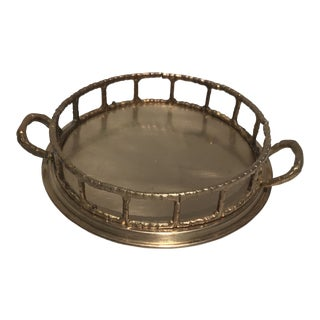 1980s Boho Chic Brass Faux Bamboo Perfume Tray For Sale