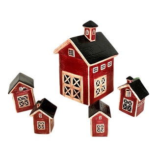 Sakura Vintage Hand Painted 5-Piece Barnyard Farmhouse Kitchen Set - 5 Pieces For Sale