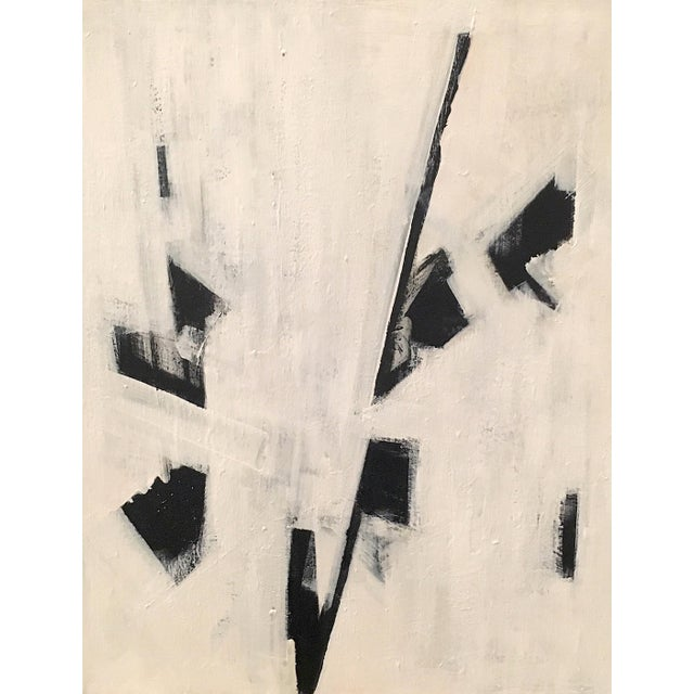 """Black and white abstract acrylic painting on 16"""" x 20"""" gallery-wrapped canvas. Framed in a simple and modern black metal..."""