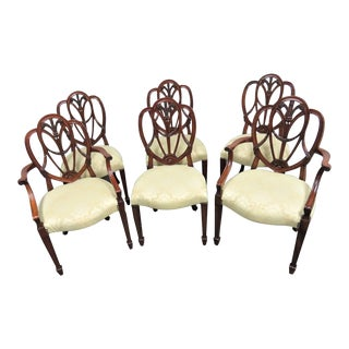 Late 20th Century Vintage Hepplewhite Solid Mahogany Shieldback Dining Chairs- Set of 6 For Sale