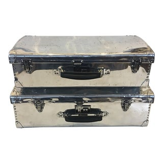 1940s Industrial Polished Aluminum Suitcases - a Pair For Sale