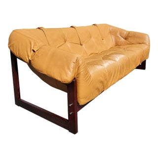 A Percival Lafer Mid-Century Modern Brazilian Leather Sofa Model Mp-091 For Sale