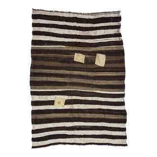 "Vintage Striped Brown Kilim Rug-6'7x8'6"" For Sale"