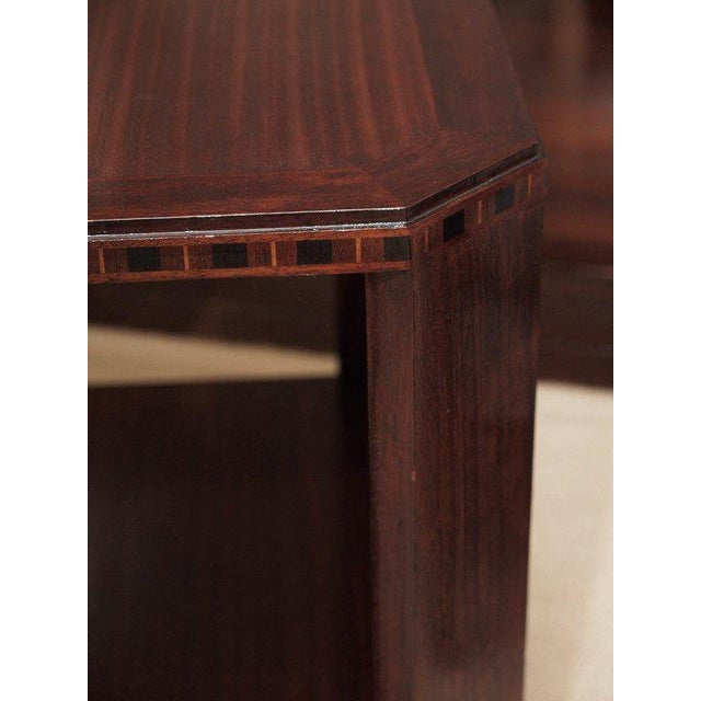 2-Ties Art Deco Side Table in Mahogany For Sale - Image 4 of 7