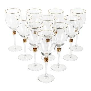 Vintage Set 13 Crystal Wine With Gold Design Stems