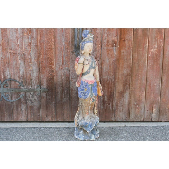 Blue Antique Polychrome Quand-Yin Statue For Sale - Image 8 of 11