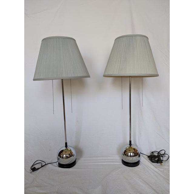 George Kovacs Chrome Table Lamps - a Pair For Sale - Image 12 of 12