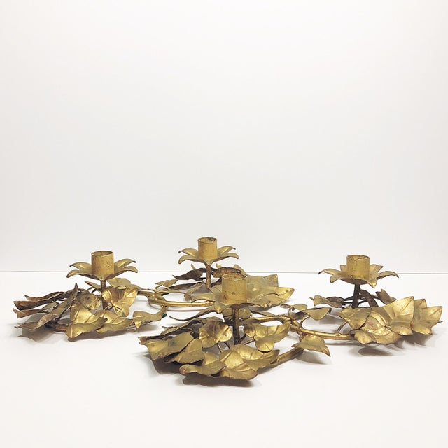 Late 20th Century Italian Gold Leaf Candle Holders - a Pair For Sale - Image 5 of 7