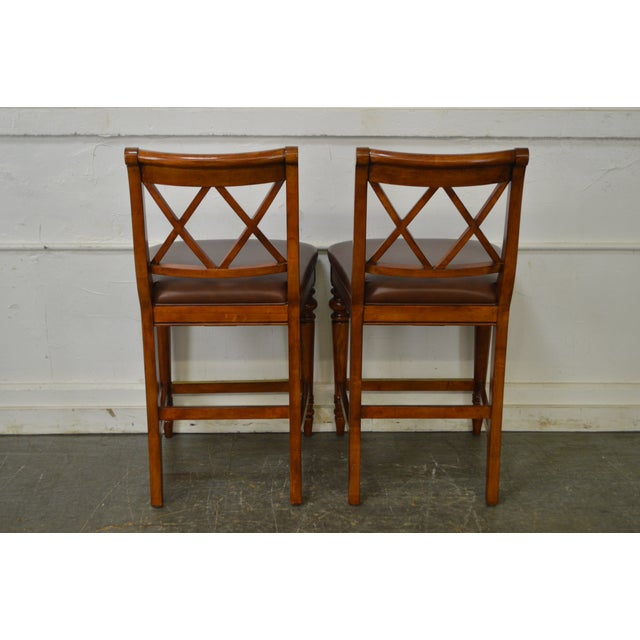 Ethan Allen Regency Style Counter Bar Stools - A Pair - Image 4 of 11