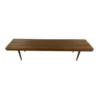Vintage Mid-Century Modern Slatted Bench Coffee Table For Sale
