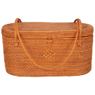 1950's Woven Straw Box Bag For Sale