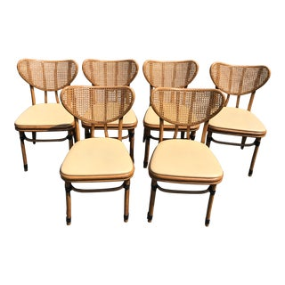 Set of 6 McGuire Bamboo and Cane Dining Chairs
