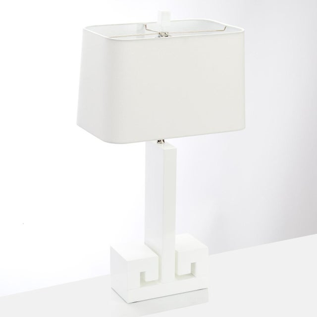 "We adore this High Gloss Greek Key lamp by Meg Caswell for Couture Lamps! 30"" Table Lamp engineered woodl 