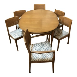 Mid-Century Modern Teak Table with Cane Back Chairs Dining Set For Sale