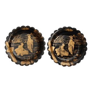 Papier Mache Wine Coasters, Dishes, Card Trays - a Pair For Sale