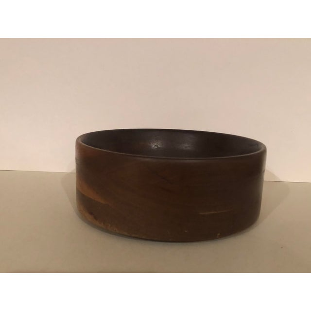 One of a kind. Estate sale find. Beautifully crafted dark wood bowl turned from Michigan timber.