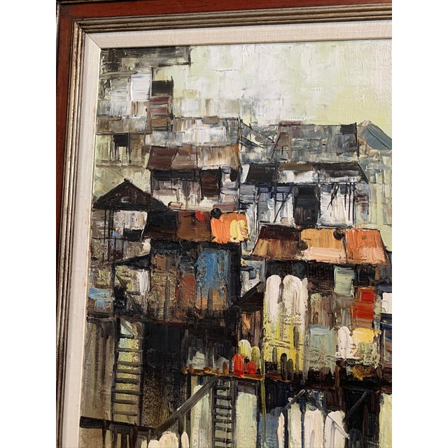 """1960s 1966 """"Houses on Stilts"""" Oil Painting For Sale - Image 5 of 9"""