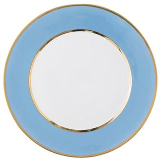 """Schubert"" Charger in Light Blue & Narrow Gold Rim For Sale"