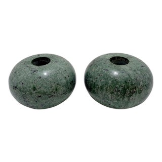 Italian Green Marble Candle Holders ~ a Pair For Sale