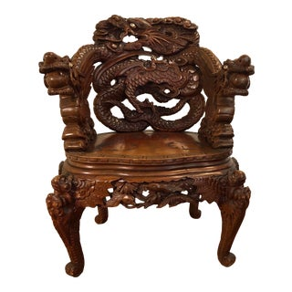 Antique Japanese Carved Dragon Chair For Sale