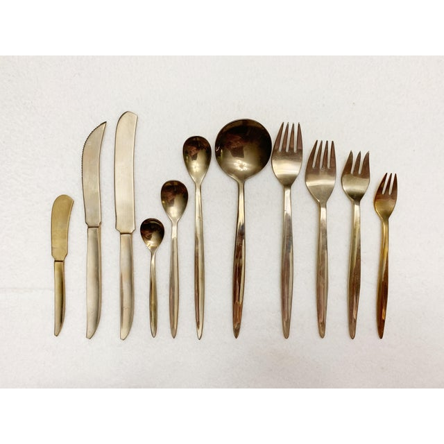 Hollywood Regency 1960's Solid Brass Flatware Set of 142 Pieces For Sale - Image 3 of 7