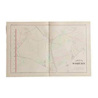 Antique Woburn Massachusetts Atlas Map Plate L