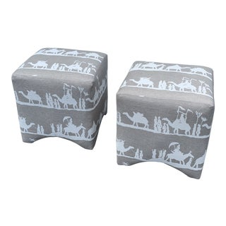 """Vintage Andrew Martin """"Timbuktu"""" Fabric Ottomans- a Pair For Sale"""