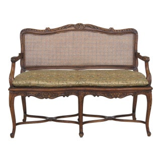 French Louis XV Style Cane Back Settee Bench For Sale