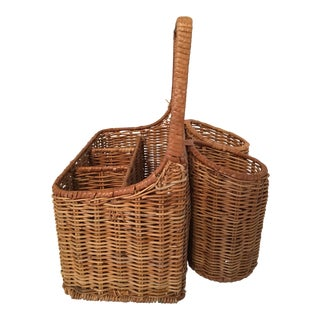 Wicker Bottle Carrier Picnic Basket