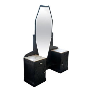 1930s Art Deco Mirrored Vanity with Cabinet in Hammered Steel and Onyx For Sale