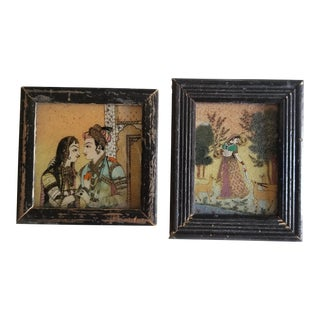 Antique Indian Reverse Painted Glass Miniature Paintings For Sale