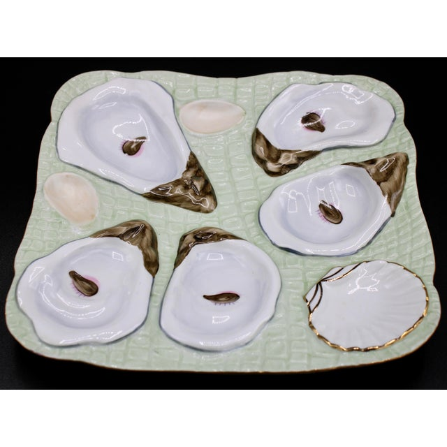 1960s Mint Green Oyster Plate For Sale - Image 4 of 11