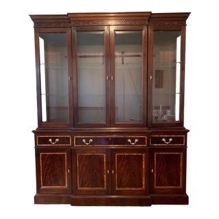 1990s Traditional Stickley Classic Mahogany Buffet With Beveled Glass China Top For Sale