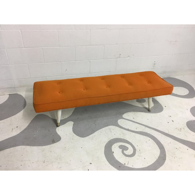 Mid-Century Modern Orange Bench - Image 4 of 6