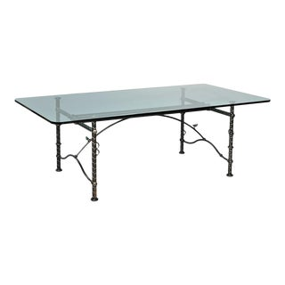 Ilana Goor Figural Iron Base Glass Top Dining Table For Sale