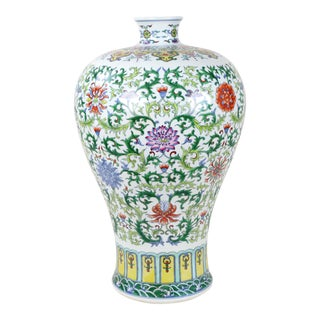Ching Dynasty Dou Cai Color Mei Ping Vase With Yongzheng Mark For Sale