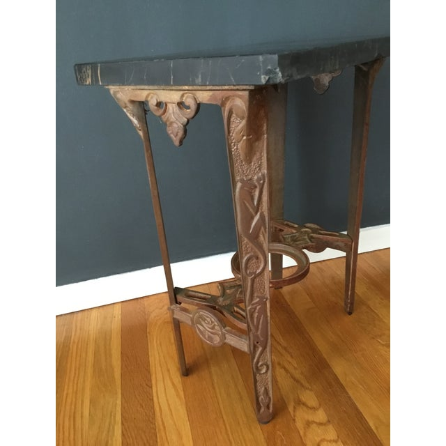 Early 20th Century Art Deco Marble and Iron Side Table For Sale - Image 4 of 5