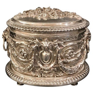 English Silverplated Ornate Table Box by Hukin and Heath For Sale