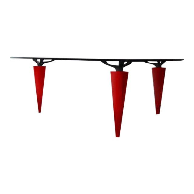 1991 Isao Hosoe for Cassina Italia 'Oskar in Red Leather' Table For Sale