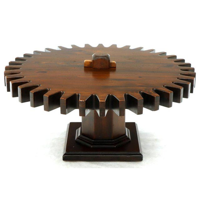 Awesome Thick Wooden Huge Round Gear Shape Top Coffee Table Creativecarmelina Interior Chair Design Creativecarmelinacom