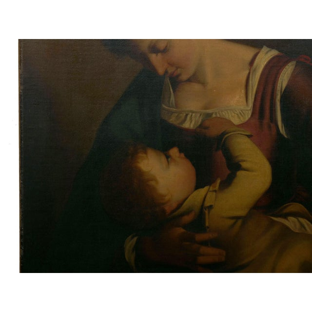 """Canvas """"Madonna & Child"""" 19th Century Copyist Oil Painting After Orazio Gentileschi For Sale - Image 7 of 13"""