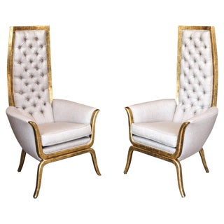 Mid-Century Modern James Mont Style High Back Armchairs - a Pair For Sale