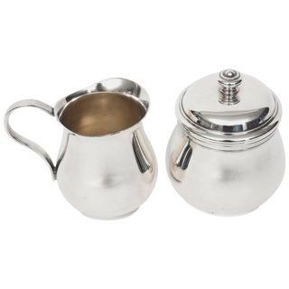 Christofle Albi Silver Plated Sugar Bowl and Creamer For Sale
