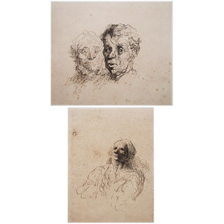 "1950s American Classical Lithographs, ""Study of Heads"" by Honoré Daumier - a Pair"