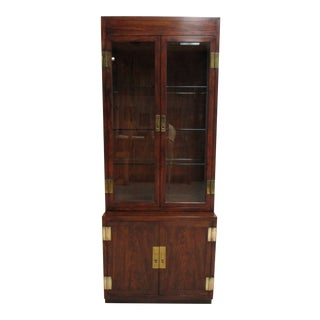 1980s Henredon Scene One Campaign Hutch Display Cabinet For Sale
