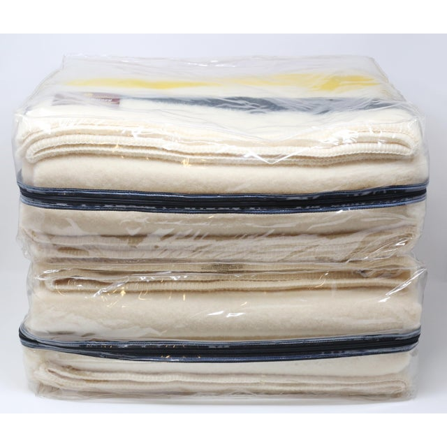 White Vintage New Old Stock Early's of Witney Four Point Color Stripe Wool Blankets - a Pair For Sale - Image 8 of 10