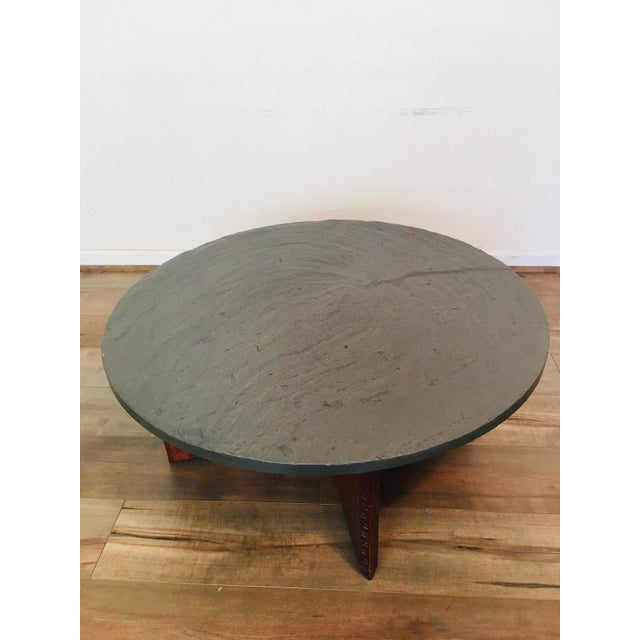 Americana Frank Lloyd Wright for Henredon Coffee Table W/Slate Stone Top For Sale - Image 3 of 9