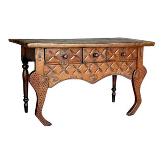 Antique Carved Narrow Table With Carvings and Stylized Animal Front Legs For Sale