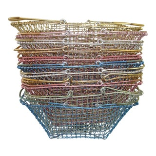 Vintage Industrial Style Anodized Aluminum Wire Market Baskets - Set of 11