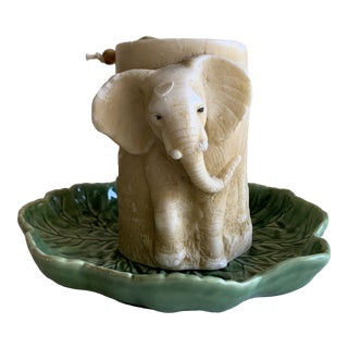 Textural Elephant Candle & Leaf Shaped Tray-Set of 2 For Sale